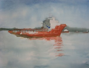 art, artist, boats, landscape, malaysia, marine, offshore support vessel, osv, painting, scenery, sea, seascape, sky, water, watercolour, thomas yoon