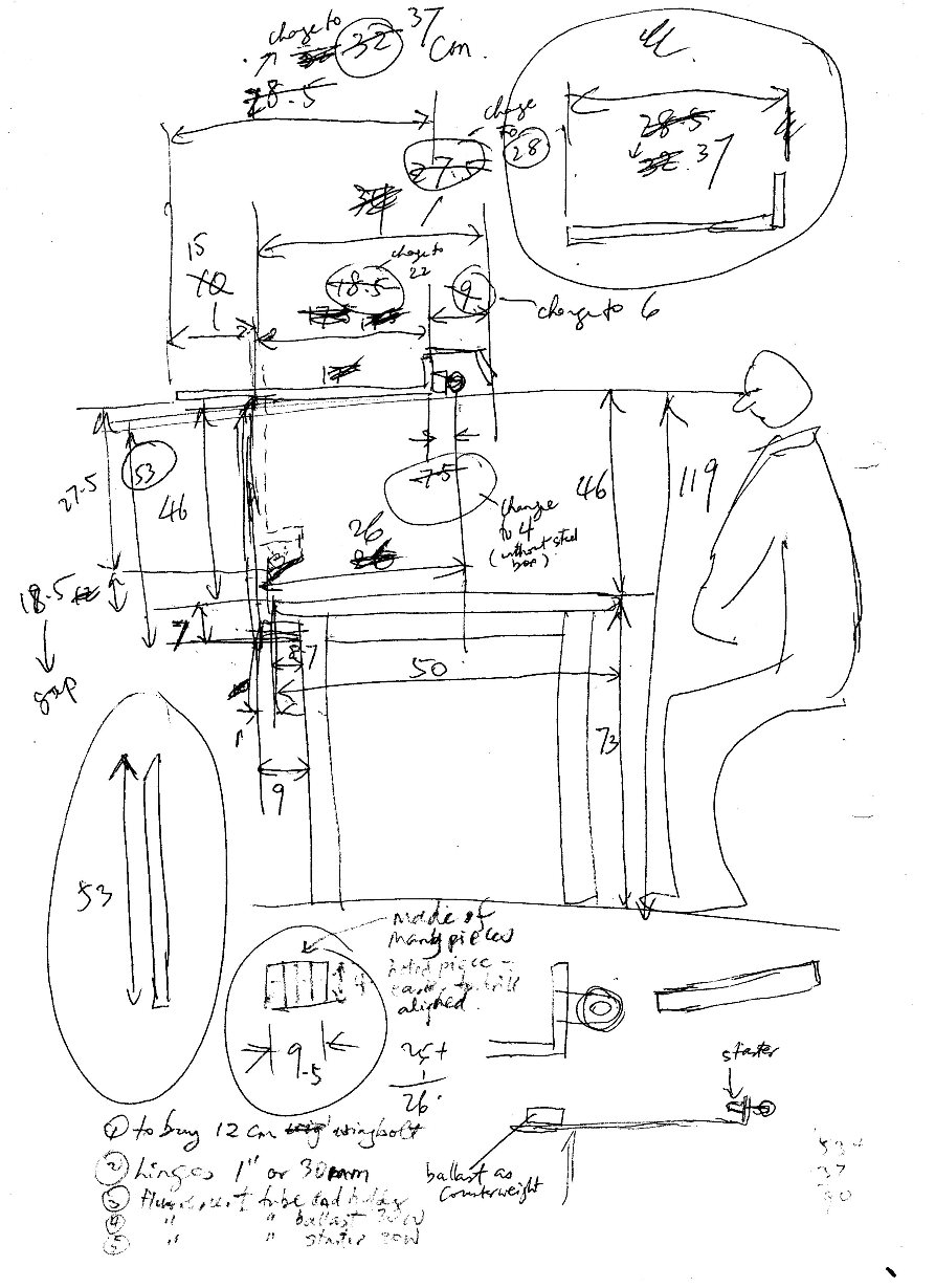 Drafting table dimensions - Table Lamp Design Construction Drawing
