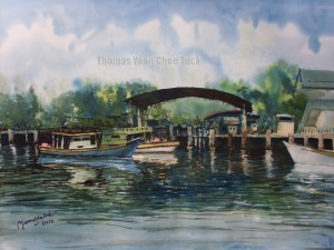 Sungai Kuang Depot, art, artist, boats, landscape, malaysia, marine, offshore support vessel, osv, painting, scenery, sea, seascape, sky, water, watercolour, thomas yoon