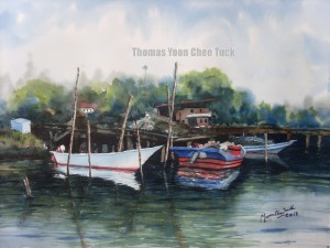 Sungai Kuang Jetty, art, artist, boats, landscape, malaysia, marine, offshore support vessel, osv, painting, scenery, sea, seascape, sky, water, watercolour, thomas yoon