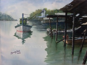 Sungai Kuang Mouth, art, artist, boats, landscape, malaysia, marine, offshore support vessel, osv, painting, scenery, sea, seascape, sky, water, watercolour, thomas yoon