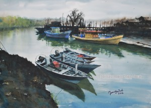Tanjung Api Sampan, art, artist, boats, landscape, malaysia, marine, offshore support vessel, osv, painting, scenery, sea, seascape, sky, water, watercolour, thomas yoon
