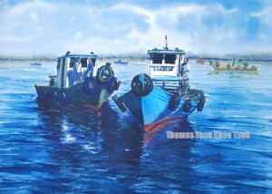 Tyre Boats, art, artist, boats, landscape, malaysia, marine, offshore support vessel, osv, painting, scenery, sea, seascape, sky, water, watercolour, thomas yoon