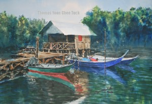 fishing jetty, fishing boat, swamp, coast, mangrove, landing, art, artist, boats, landscape, malaysia, marine, offshore support vessel, osv, painting, scenery, sea, seascape, sky, water, watercolour, thomas yoon
