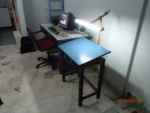 fluorescent lamp, adjustable, artist bench, custom made lamp
