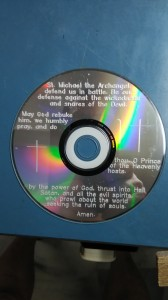 St Michael's prayer engraved on CD