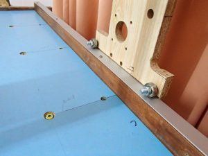 Ball bearings running on aluminium flat bar