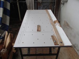 Banquet table converted to portable work table