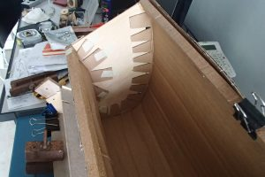 Volute casing edges glued in place
