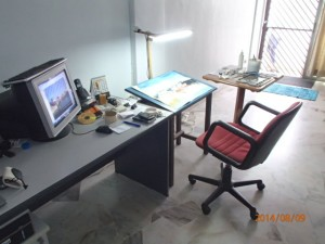 Digital photograph copied on paper over drawing table