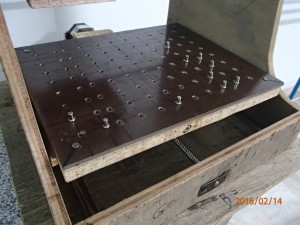 Shelf pins and hardboard used on movable bed