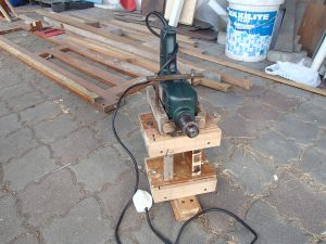 Assembled pieces of drill press slide