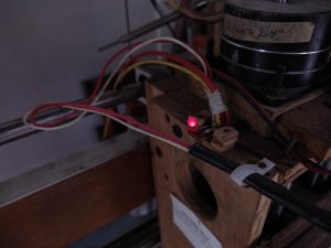 """Lighted LED shows PWM signal is high - Laser could be """"on"""""""